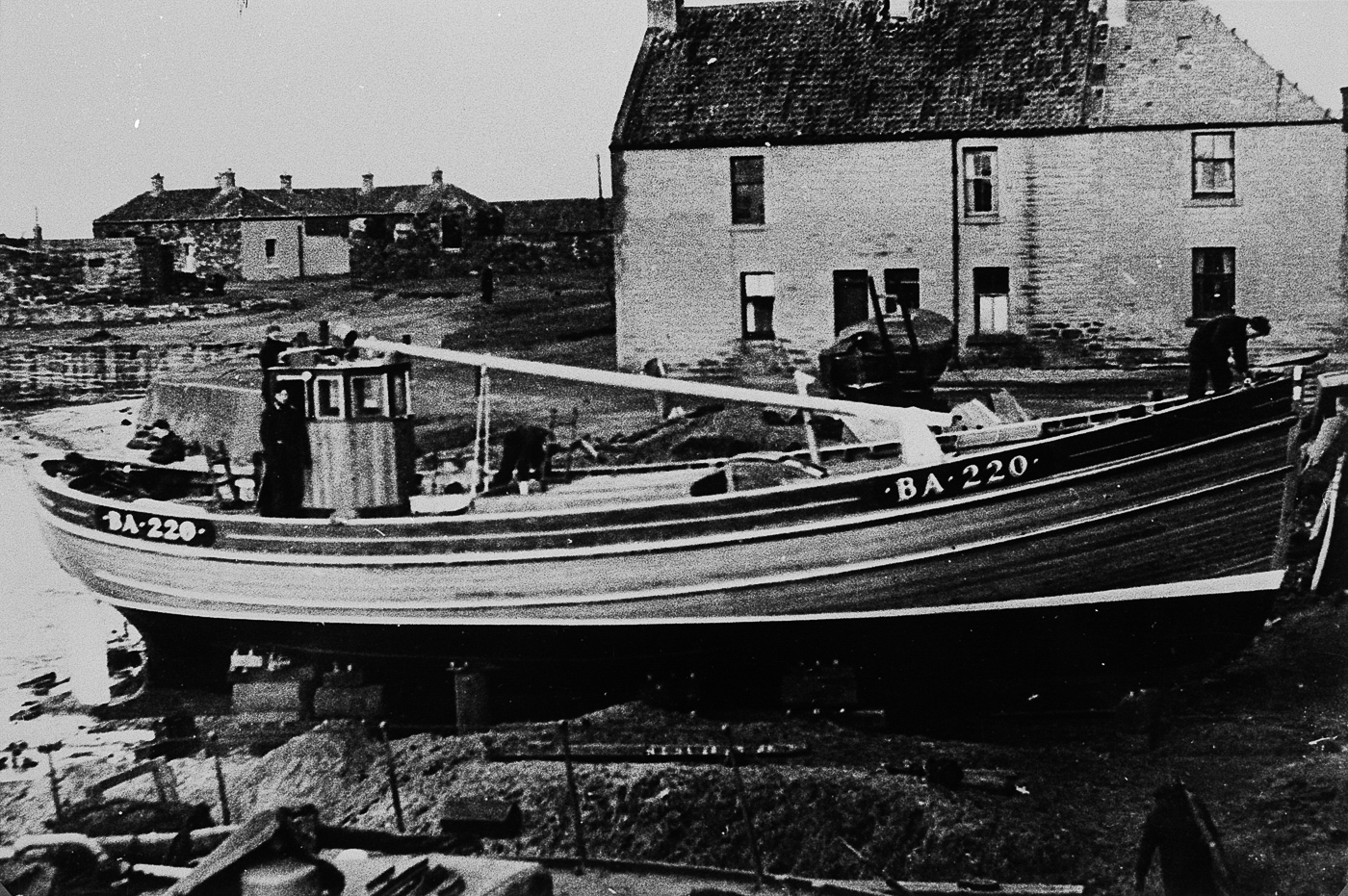 Ringnetter 'Aliped VII', BA220, being built at Weatherhead's yard, Cockenzie. She was commissioned by the McCrindle family of Girvan and was later sold to Carradale and renamed 'Amy Harris'.