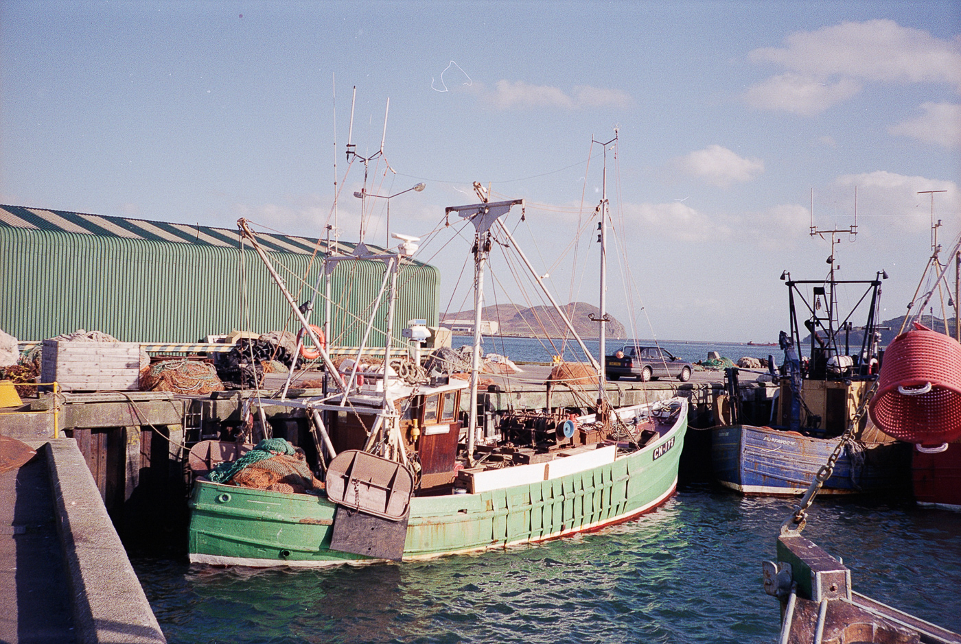 Dual purpose ringnetter, trawler, and scalloper 'Silver Lining', CN75, in harbour, Campbeltown, 14th October 1990. She was built in Fairlie for Alan Oman of Carradale in 1950 and was previously registered BA102.