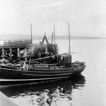 Harvest Queen CN167, and Fiona CN165 in harbour, Fairlie, 1949