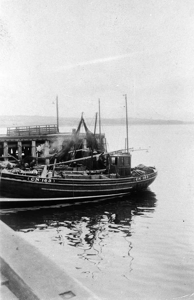 Harvest Queen CN167, and Fiona CN165 in harbour, Fairlie, 1949